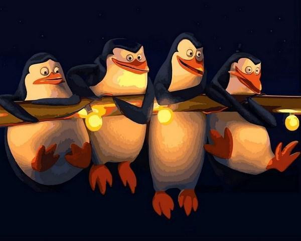 Картина по номерам 40×50 см. Mariposa Пингвины Мадагаскара (Q 2186)