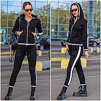 Женский вязанный спортивный костюм на молнии серый черный 42-44 46-48