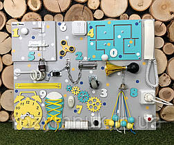 Развивающая доска Бизиборд Модель 50*65 с телефонной трубкой!  бізіборд бирюза с желтым