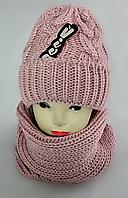 М 5092 Комплект женский шапка и баф , разные цвета, фото 1
