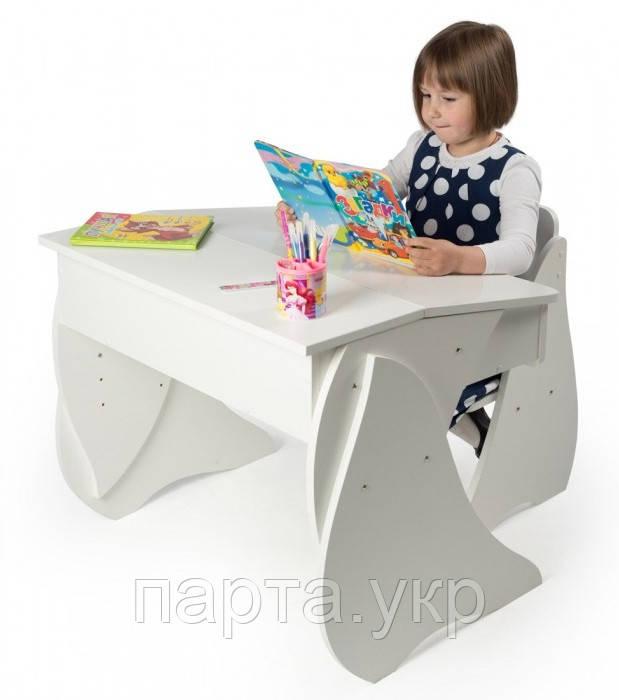 """Детская парта + стул """"Умничка"""" белый"""