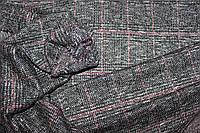Ткань трикотаж мягкий, зимний не окрашенный полностью плетенный нитями. клетка нежно розовая пог. м. № 505