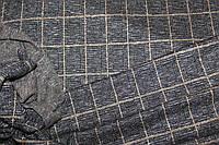 Ткань трикотаж мягкий, зимний не окрашенный полностью плетенный нитями. клетка горчица пог. м. № 506