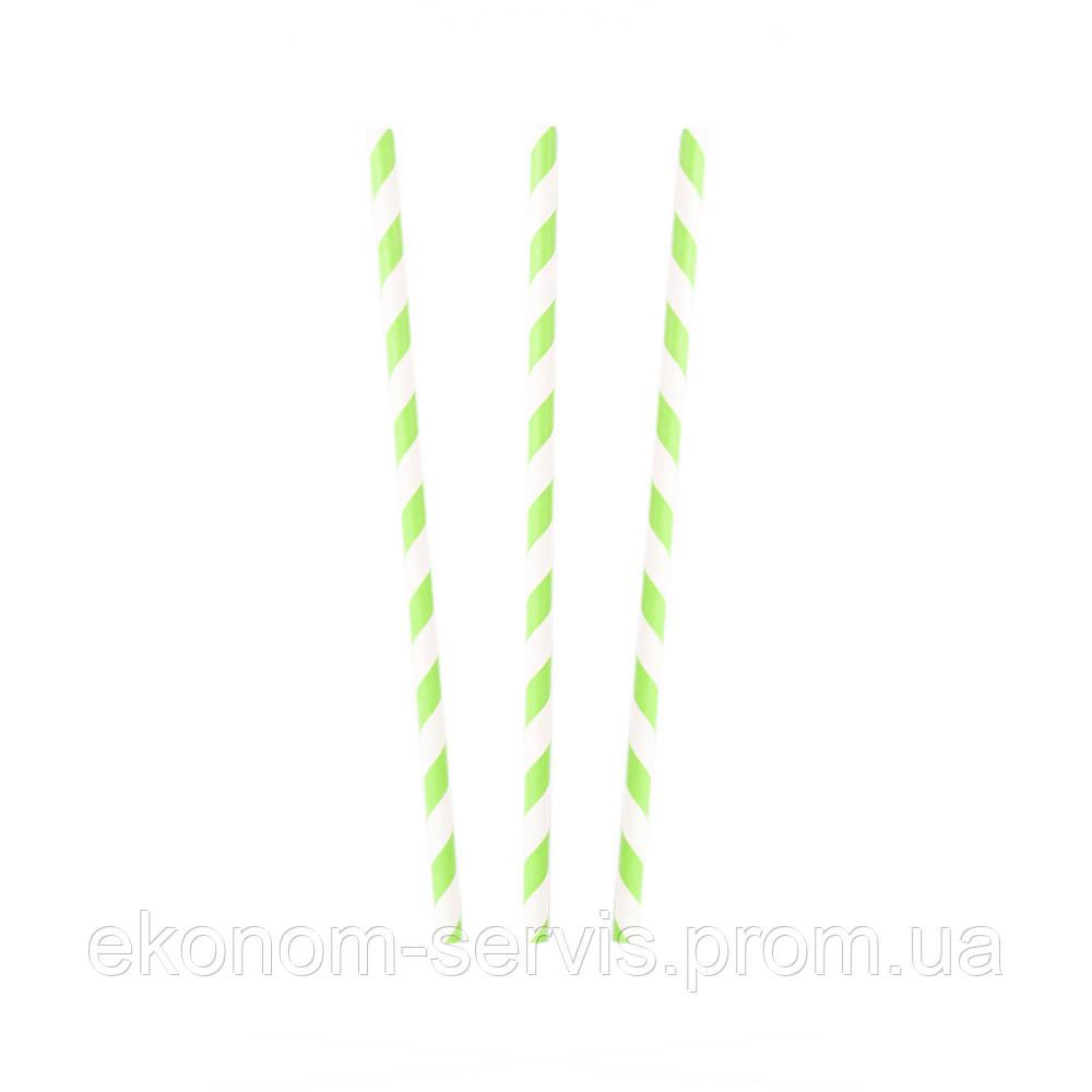 Трубочка бумажная бело-мятная h 20см d 5мм, 25 шт