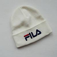 Шапка в стиле FILA мужская зимняя / белая, фото 1