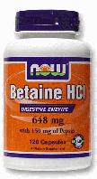 Бетаин HCl, Now Foods, Betaine HCl, 648 mg, 120 Caps