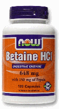 Бетаїн HCl, Now Foods, Betaine HCl, 648 mg, 120 Caps