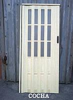Двери гармошка полуостеклённые  86х203, Более 25 цветов. Межкомнатные двери гармошка.