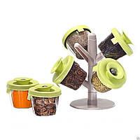 Кухонный набор емкостей для специй с подставкой из 6 штук Spice Rack
