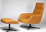 Поворотное кресло лаунж с пуфом BERKELEY (Беркли) светло коричневое кожзам Concepto (бесплатная доставка), фото 3