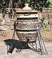 Тандыр Теплота Восточный +механизм открытия крышки + подарок Набор шампуров для тандыра 6 шт.