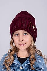 Вязаная шапка для девочек р52-54 подкладка флис 5шт упаковка