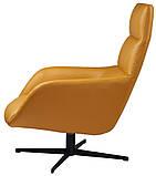 Поворотное кресло лаунж с пуфом BERKELEY (Беркли) светло коричневое кожзам Concepto (бесплатная доставка), фото 4