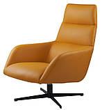 Поворотное кресло лаунж с пуфом BERKELEY (Беркли) светло коричневое кожзам Concepto (бесплатная доставка), фото 2