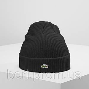 LACOSTE (ориг.бирка) | Мужская черная зимняя шапка Лакост | Чоловіча чорна зимова шапка Лакоста