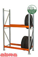 Стеллаж для шин для склада/магазина/гаража SN-Ш-1 2000х1840х500, оцинкованный, 2 яруса, до 350 кг/ярус