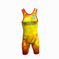 Трико борцовское Adidas UWW Ukraine Yellow/Red