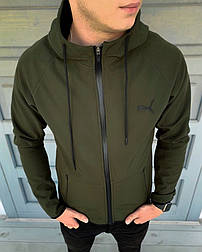 Куртка мужская осенняя весенняя Puma Soft Shell с капюшоном хаки ветровка. Живое фото (весенняя куртка)