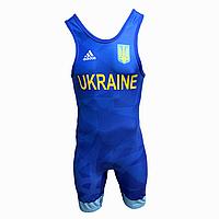 Трико борцовское Adidas UWW Ukraine Blue