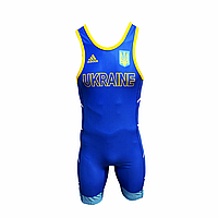 Трико борцовское Adidas UWW Ukraine Blue/Yellow
