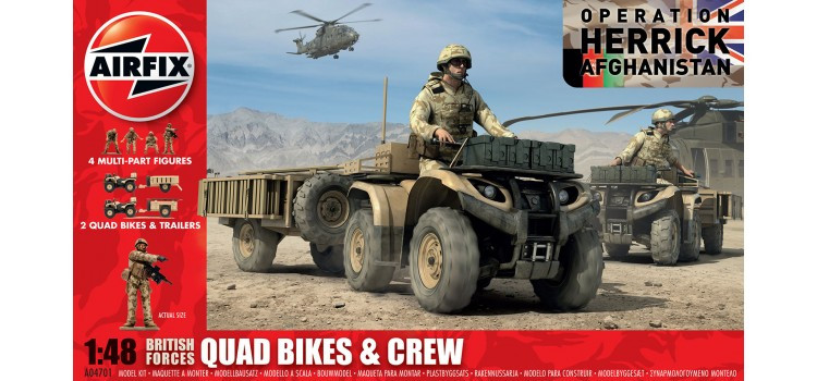 British Quad Bikes and Crew. Сборная модель. 1/48 AIRFIX 04701