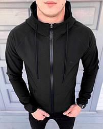 Куртка мужская осенняя весенняя Puma Soft Shell с капюшоном черная ветровка. Живое фото (весенняя куртка)