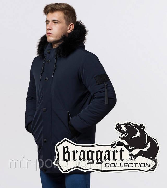 Braggart Black Diamond 9842 | Зимняя теплая куртка темно-синяя, фото 1