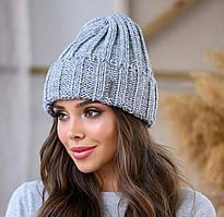 Вязанная шапка с отворотом