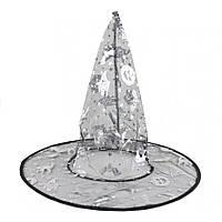 Шляпа ведьмы, колпак ведьмы, черный с серебром, аксессуар для образа на хэллоуин