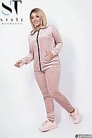 Женский велюровый прогулочный спортивный костюм на змейке с капюшоном, батал большие размеры