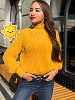 "Вязаный свитер ""Лина"" р. 42-48 горчица, фото 1"