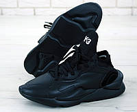 Мужские кроссовки в стиле Yohji Yamamoto Y-3 Black\White Leather черно-белые