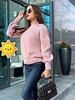 "Вязаный свитер ""Лина"" р. 42-48 пудра, фото 1"