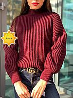 """Вязаный свитер """"Лина"""" р. 42-48 марсала, фото 1"""