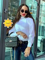Вязаный свитер Лина р. 42-48 белый