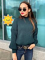 """Вязаный свитер """"Лина"""" р. 42-48 темно-зеленый, фото 1"""