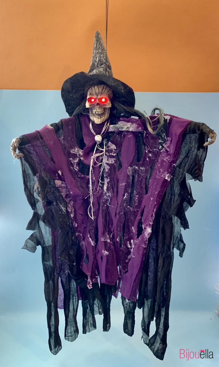 Ведьма подвесная в лохмотьях и шляпе Purple декор для Хеллоуина 65*30 см