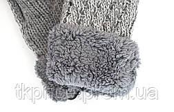 Женские трикотажные варежки с меховой подкладкой, фото 3
