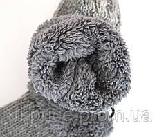 Женские трикотажные варежки с меховой подкладкой, фото 2