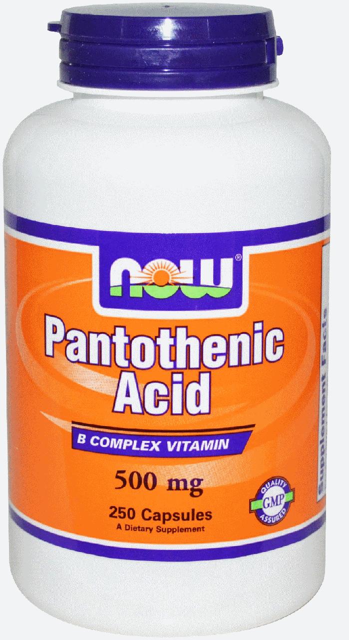 Пантотенова кислота, Vitamin В-5, Now Foods, Pantothenic Acid, 500 mg 250 Caps