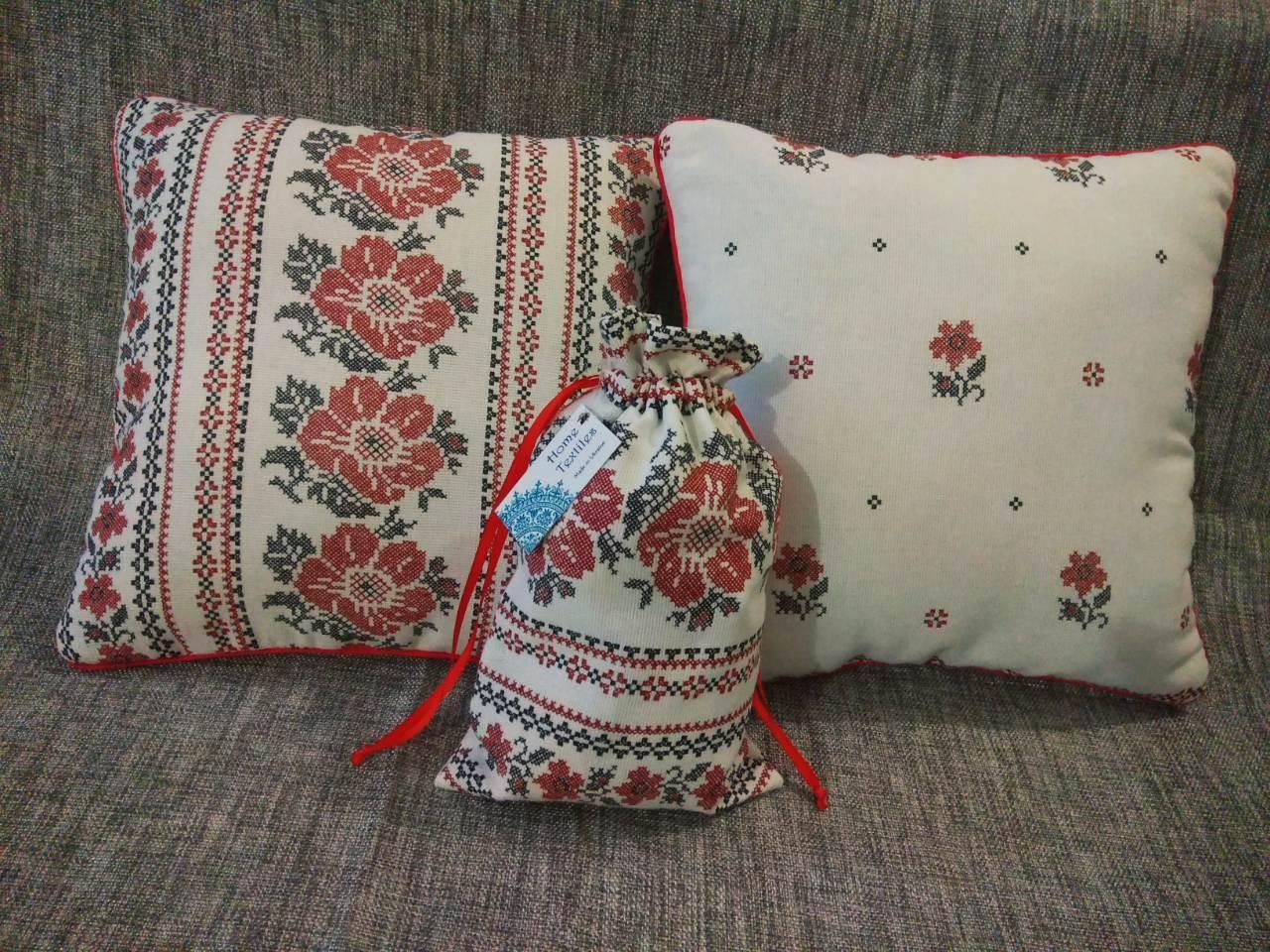 Комплект декоративних подушок + екоторбинка