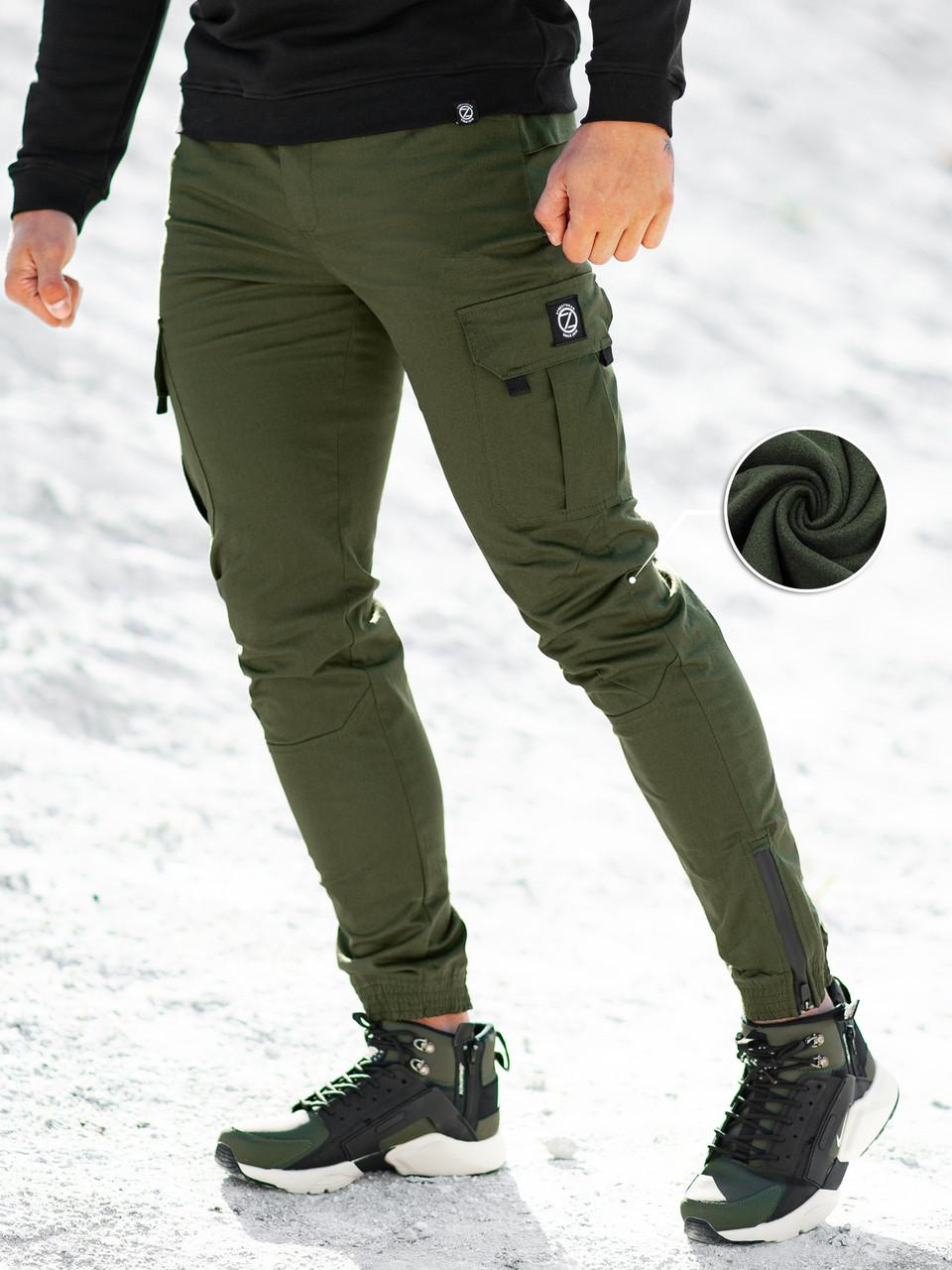 Теплые брюки карго мужские BeZet 20  хаки