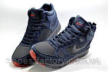 Зимние кроссовки на меху в стиле Nike Air Span 2, Темно-синий, фото 2