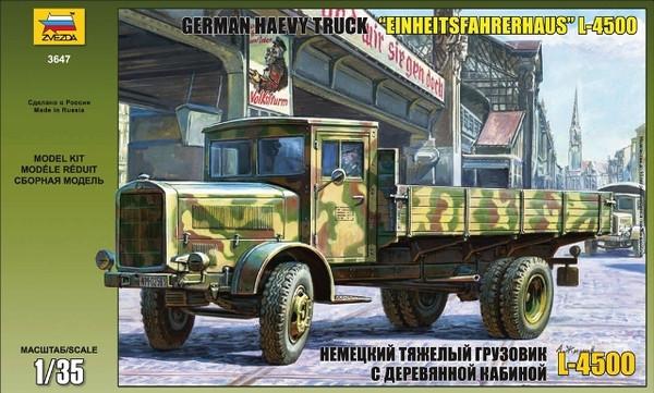 L-4500 Немецкий тяжелый грузовой военный автомобиль. Сборная модель. 1/35 ZVEZDA 3647
