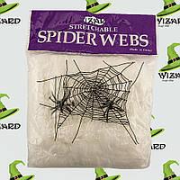 Паутина с пауками 100гр белая , фото 1