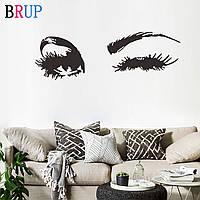Виниловая наклейка на стену «Глаза». Декоративная интерьерная наклейка на обои. Черная.
