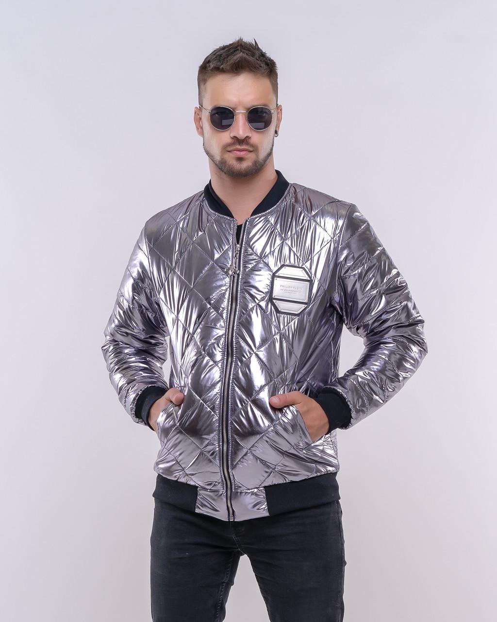 Молодіжна чоловіча куртка-бомбер сріблястий металік, стегана в ромбик