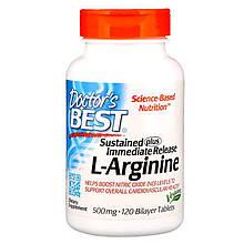 "L-Аргинин Doctor's Best ""Sustained Plus Immediate Release L-Arginine"" 500 мг (120 двухслойных таблеток)"