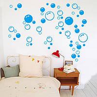 """Наклейка на стену """"ПУЗЫРИ"""" голубые. Для декора помещений,  ванной комнаты, кухни и.т.д."""