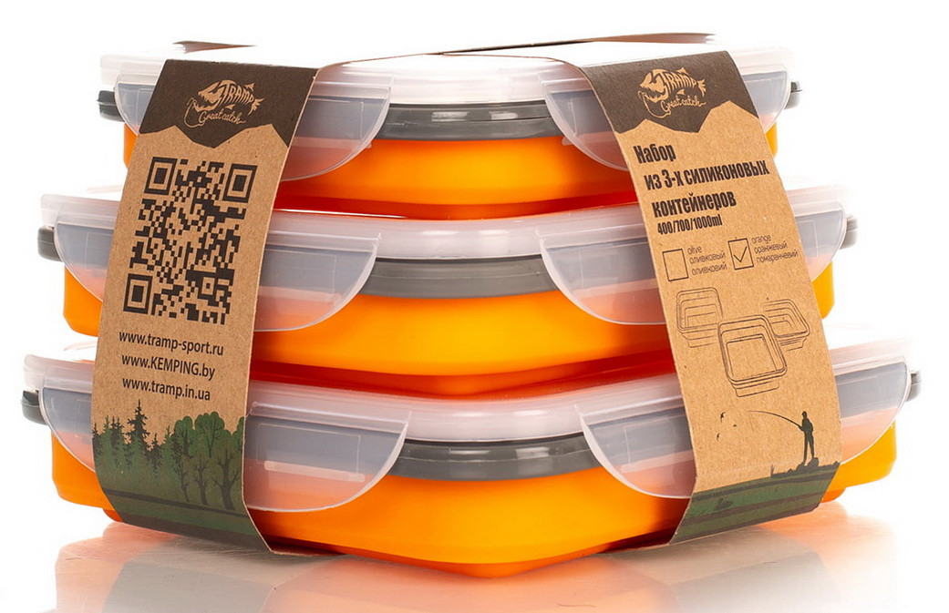 Набор из 3х силиконовых контейнеров Tramp (400/700/1000ml) Orange (TRC-089-orange)